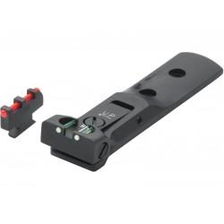 Fiber optic rear sight and front sight